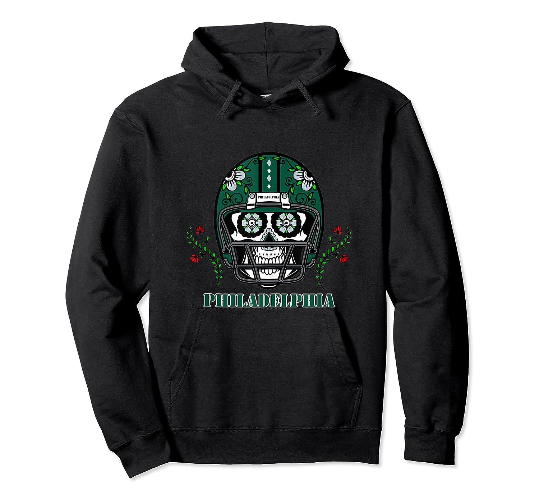 Philadelphia Football Helmet Sugar Skull Day Of The Dead Tank Top Shirts Unisex Pullover Hoodie