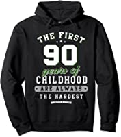 90th Birthday Funny Gift Life Begins At Age 90 Years Old T-shirt Hoodie Black