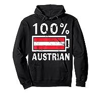 Austria Flag T Shirt 100 Austrian Battery Power Tee Hoodie Black