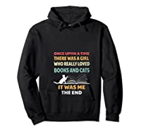 Bookworm Girl Cats Lover Reading And Pets Gift Out T Shirt Hoodie Black