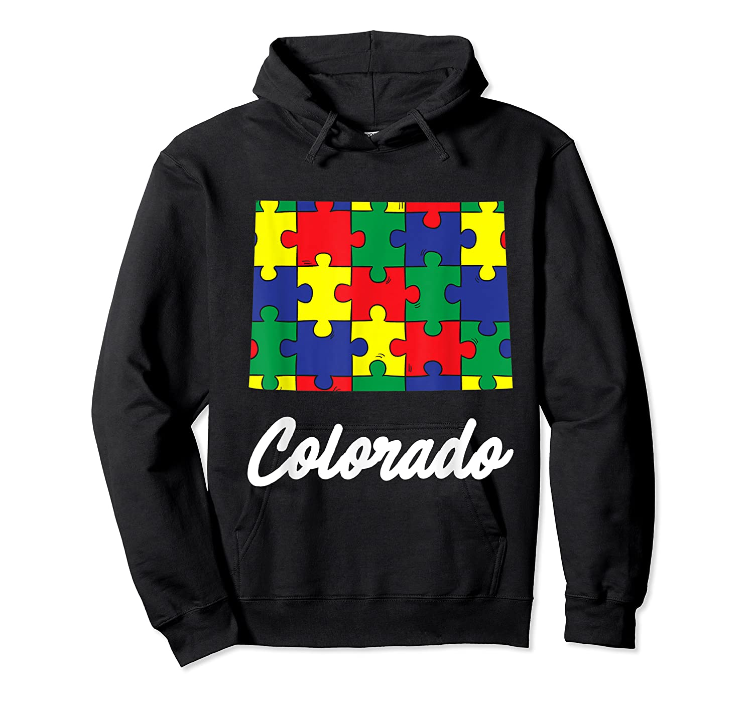 Autism Awareness Day Colorado Puzzle Pieces Gift Shirts Unisex Pullover Hoodie