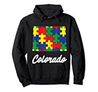 Autism Awareness Day Colorado Puzzle Pieces Gift Shirts Hoodie Black