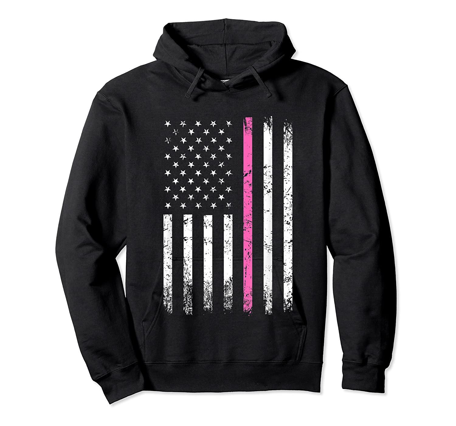 Stars Stripes Thin Pink Line Breast Cancer Awareness Month T Shirt Unisex Pullover Hoodie