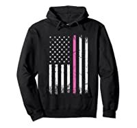 Stars Stripes Thin Pink Line Breast Cancer Awareness Month T Shirt Hoodie Black