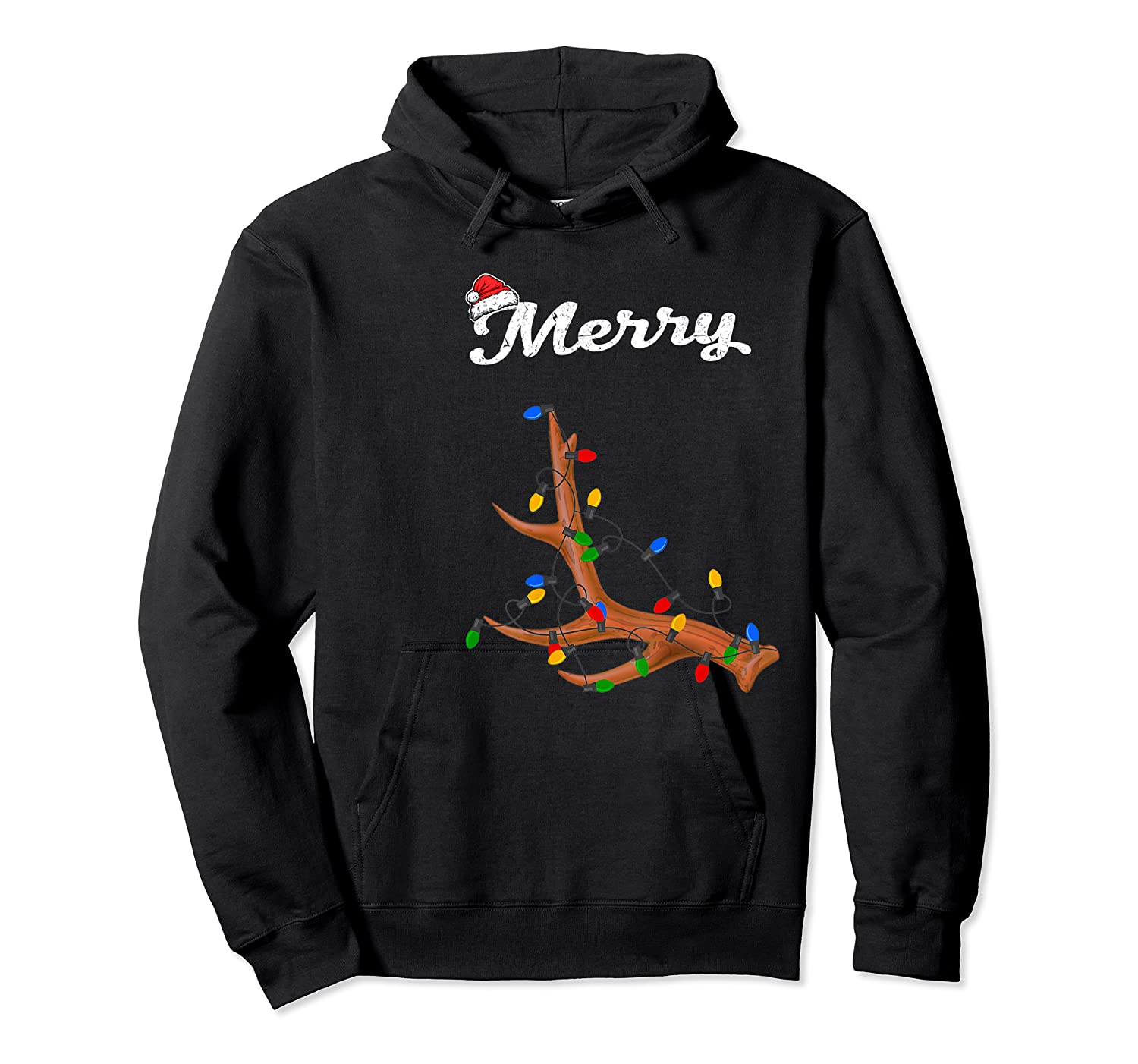 Merry Christmas Deer Antler Couples Matching Costume Gift Shirts Unisex Pullover Hoodie