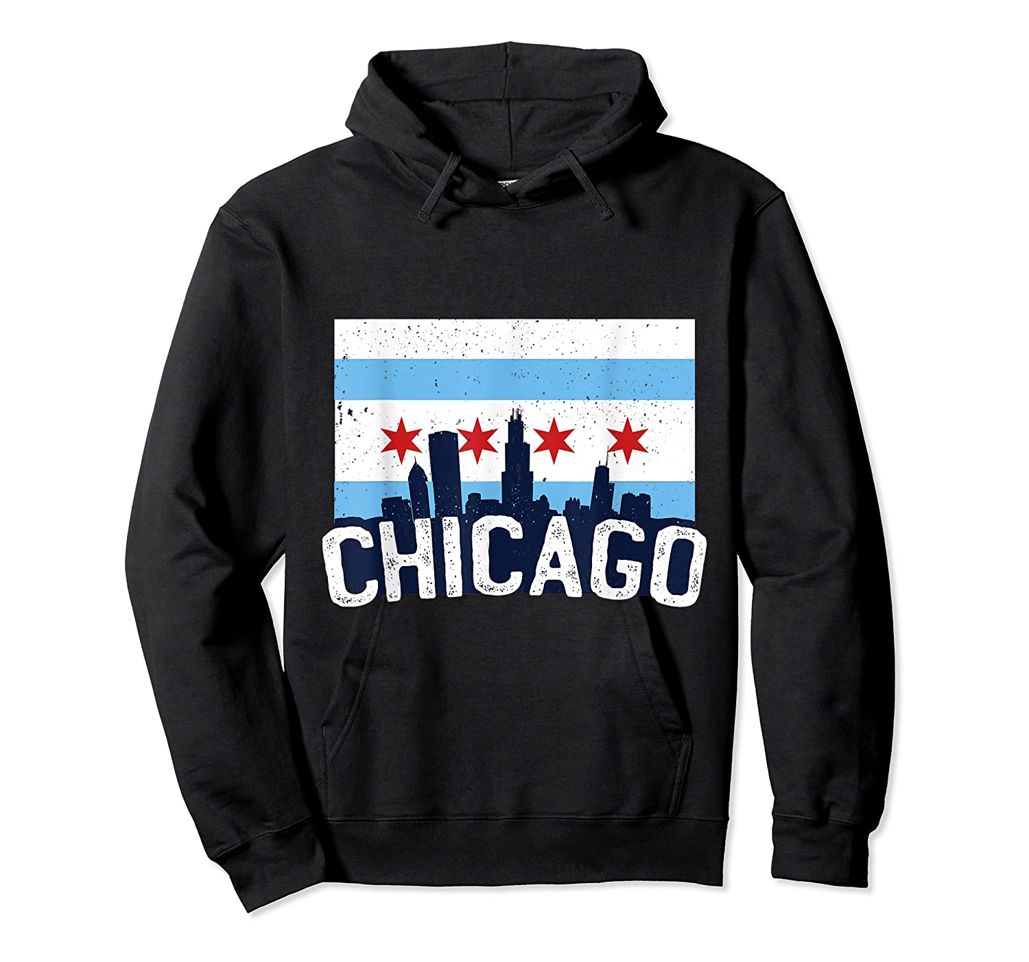 Chicago Flag Skyline Shirt Chi Town Pride City Flag Gift T Shirt Unisex Pullover Hoodie