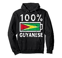 Guyana Flag T Shirt 100 Guyanese Battery Power Tee Hoodie Black