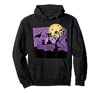 Dark Spooky Night Black Cat With Bats Halloween Shirts Hoodie Black