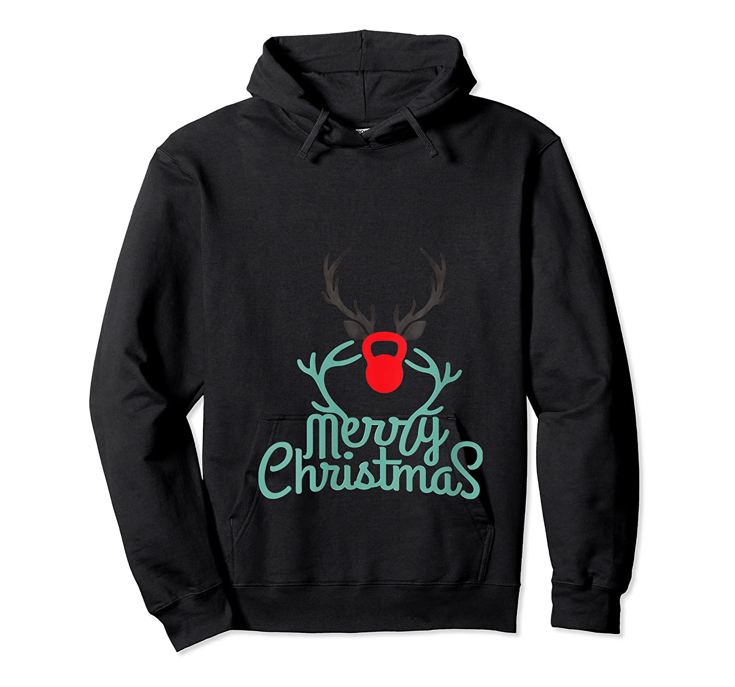 Merry Xmas Antlers Kettlebell Weightlifting Ness Workout Shirts Unisex Pullover Hoodie
