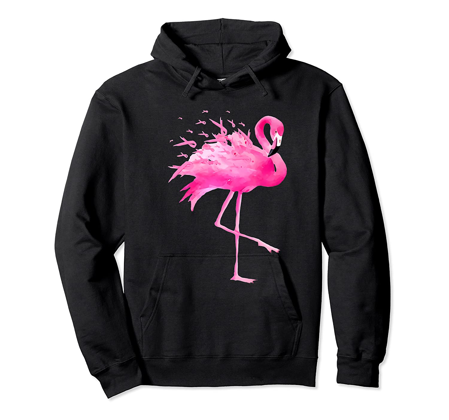 Funny Flamingo Breast Cancer Awareness October Ribbon Pink Premium T Shirt Unisex Pullover Hoodie