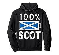 Scotland Flag T Shirt 100 Scot Battery Power Tee Hoodie Black
