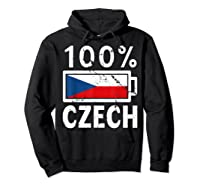 Czech Republic Flag Shirt 100 Czech Battery Power Tee Hoodie Black