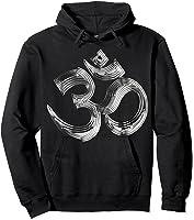 Om Yoga Chrom Zeichen   Buddha Vishnu Liebe Schwarz Weiß T-shirt Hoodie Black