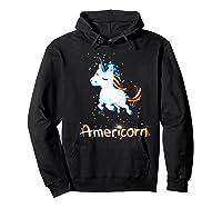 Americorn 4th Of July Patriot Usa Unicorn Lovers Funny Gift Premium T-shirt Hoodie Black