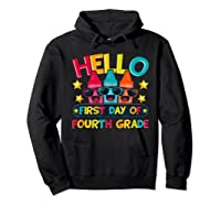 Hello First Day Of Fourth Grade Cute Crayon Student Tea Shirts Hoodie Black