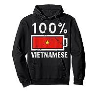 Vietnam Flag T Shirt 100 Vietnamese Battery Power Tee Hoodie Black