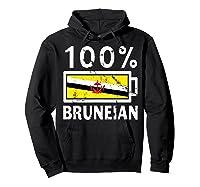 Brunei Flag T Shirt 100 Bruneian Battery Power Tee Hoodie Black