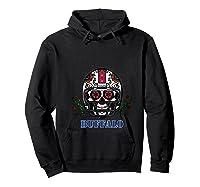 Buffalo Football Helmet Sugar Skull Day Of The Dead T Shirt Hoodie Black