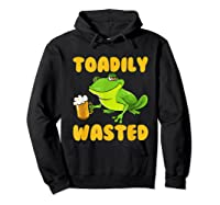 Funny Frog Drink Beer Toadily Wasted Beer Party Gift T Shirt Hoodie Black