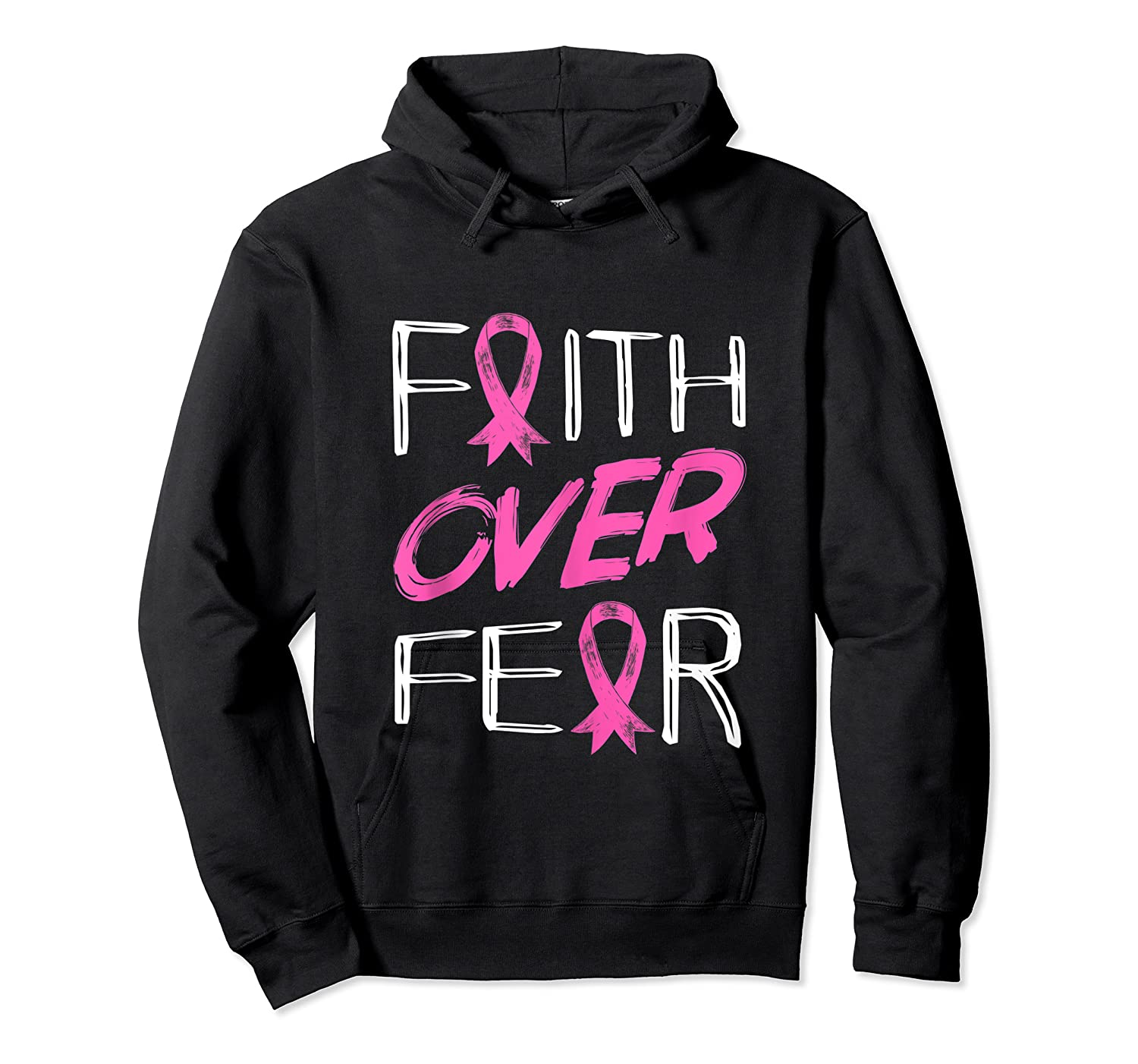 Faith Over R Breast Cancer Awareness Month Pink Ribbon Tank Top Shirts Unisex Pullover Hoodie