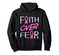 Faith Over R Breast Cancer Awareness Month Pink Ribbon Tank Top Shirts Hoodie Black