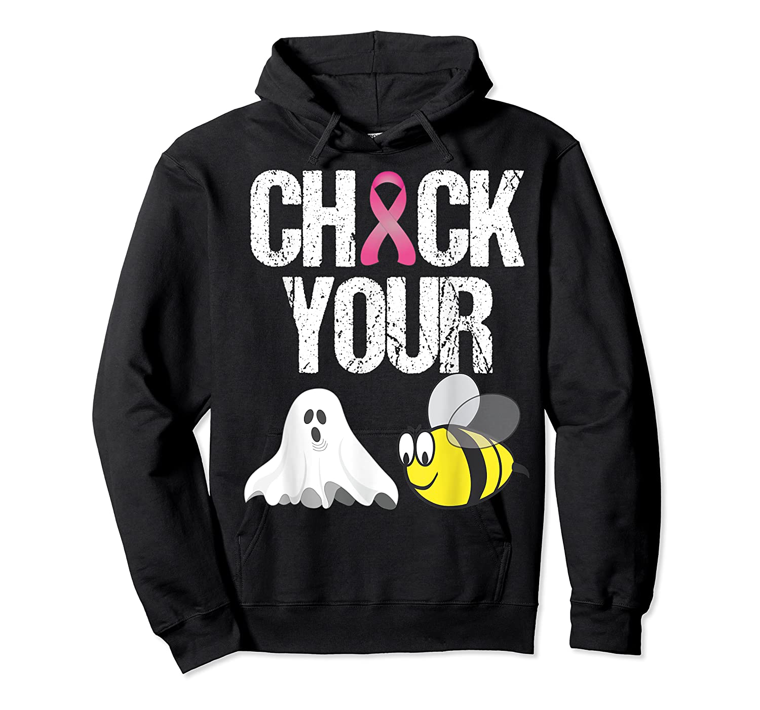 Check Your Boo Bees Shirt Funny Breast Cancer Halloween Gift Unisex Pullover Hoodie