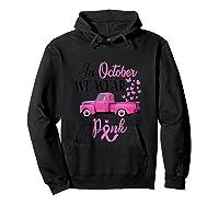 October Breast Cancer Awareness Month Pumpkin Vintage Truck Tank Top Shirts Hoodie Black