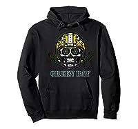 Green Bay Football Helmet Sugar Skull Day Of The Dead Premium T-shirt Hoodie Black