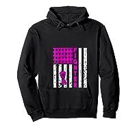 Breast Cancer Awareness Month Flag Fighter Survivor Gift T Shirt Hoodie Black