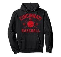 Cincinnati Baseball Vintage Distressed Ohio Red Retro Gift Shirts Hoodie Black