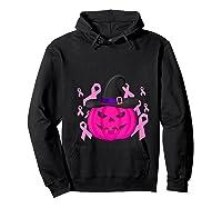 Pink Ribbon Pumpkin Halloween Breast Cancer Awareness Month T Shirt Hoodie Black
