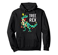 Christmas Tree Rex Shirts Dinosaur T-rex Raglan Baseball Tee Hoodie Black