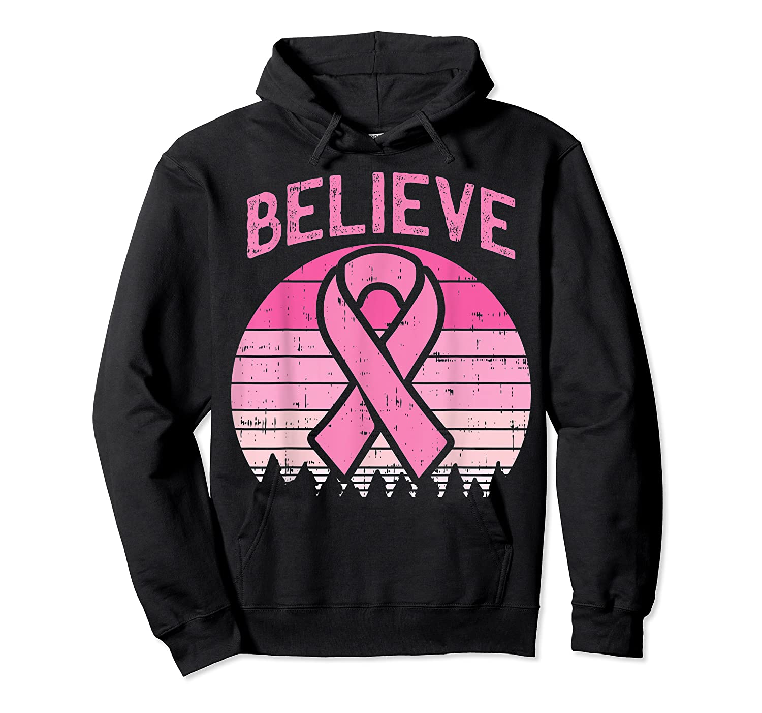 Believe Retro Sunset Pink Ribbon Breast Cancer Awareness T Shirt Unisex Pullover Hoodie