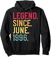 Legend Since June 1996 25th Birthday 25 Years Old Vintage T-shirt Hoodie Black