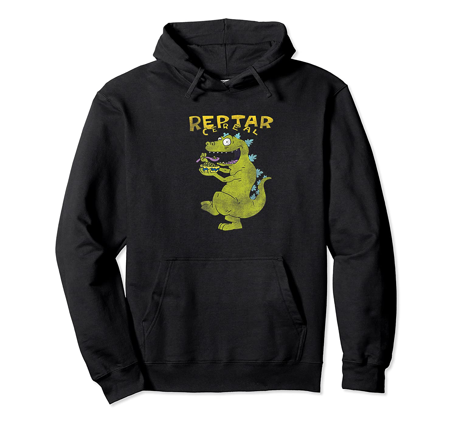 Reptar Eating Cereal With Text Reptar Cereal Shirts Unisex Pullover Hoodie