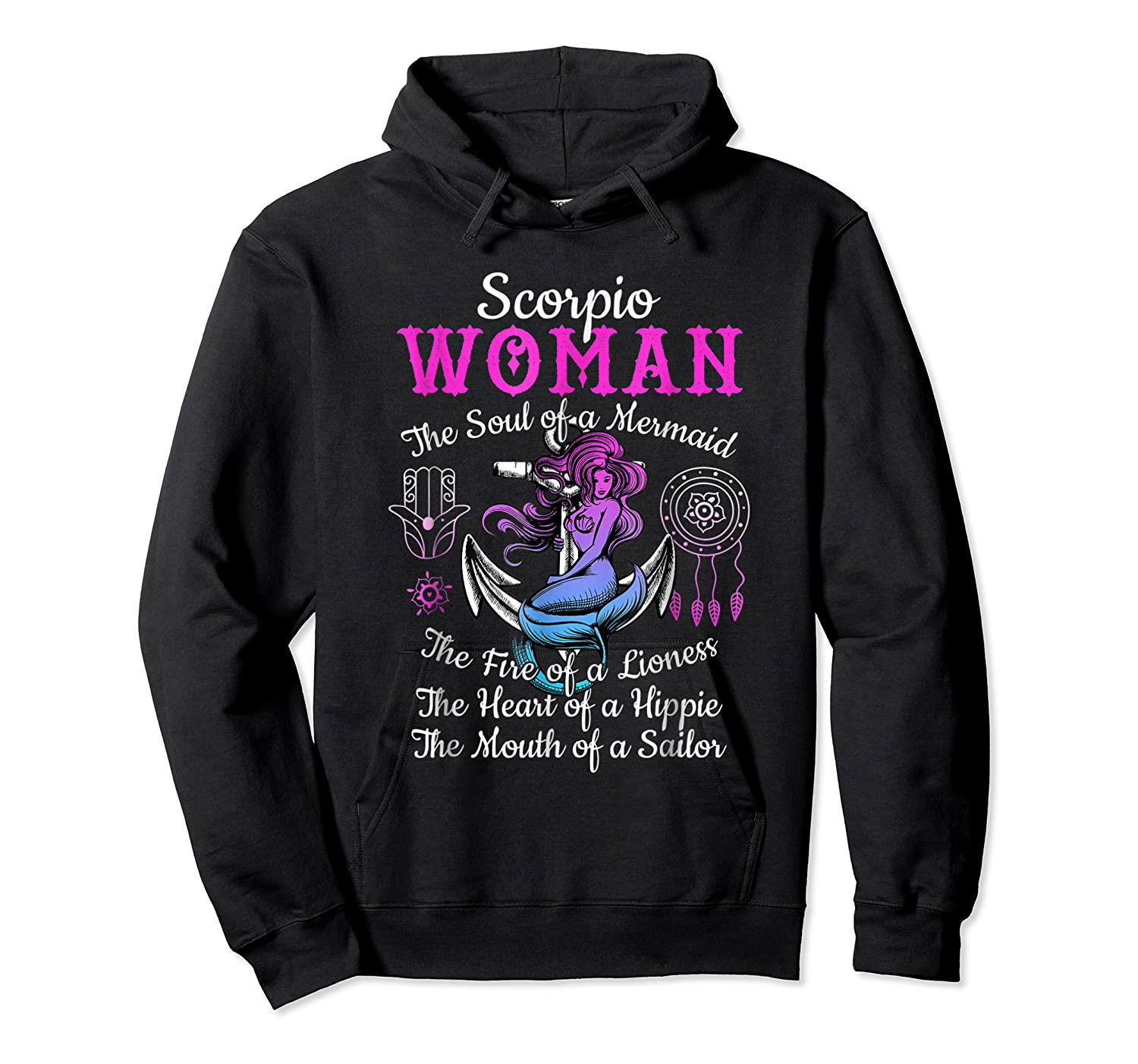 Scorpio With Mermaid Soul And Hippie Heart Shirts Unisex Pullover Hoodie