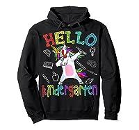 Hello Kindergarten Unicorn Tshirt Funny Back To School Gift Hoodie Black
