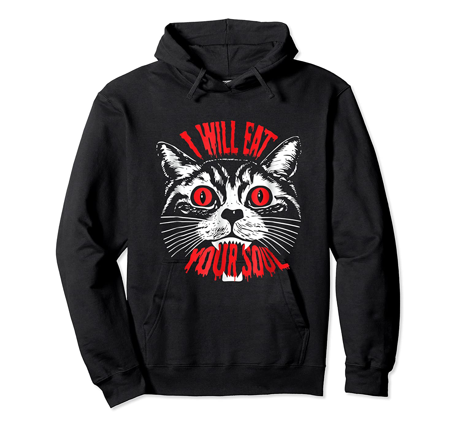 I Will Eat Your Soul Satanic Cat Spooky Halloween T Shirt Unisex Pullover Hoodie
