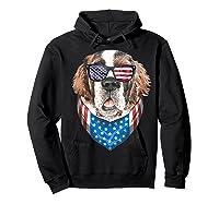 Fourth Of July Bernard American Flag July 4th St Bernard Dog T Shirt Hoodie Black