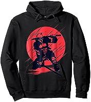 Marvel Deadpool Red Moon Samurai Graphic T-shirt Hoodie Black