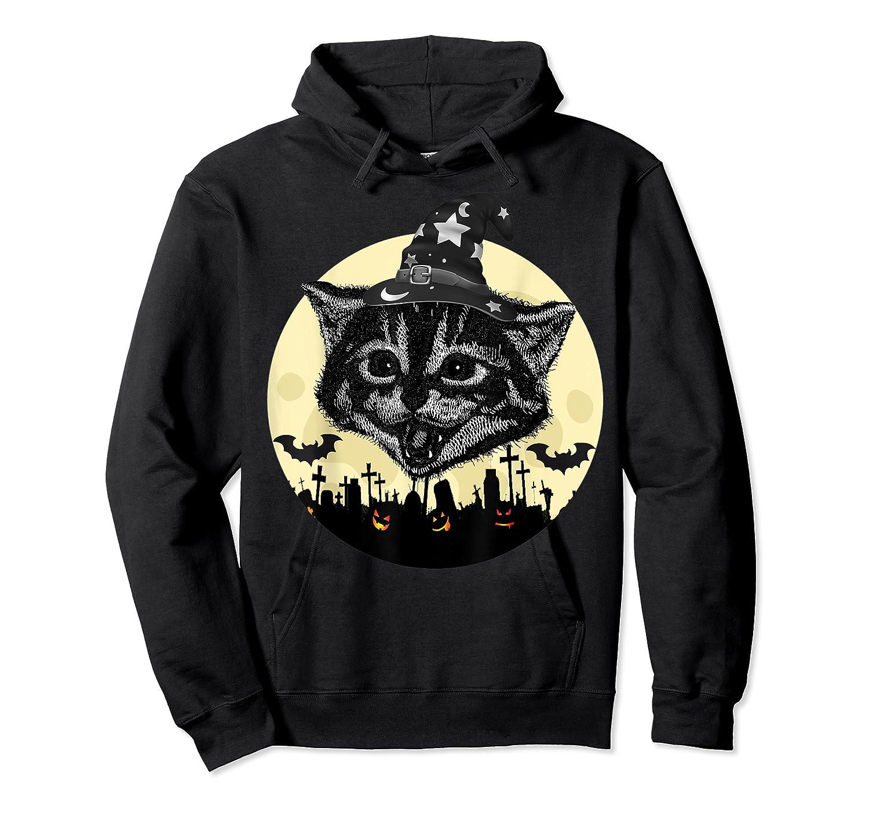 Vintage Scary Halloween Black Cat Witch Hat Moon Pumpkin Bat T Shirt Unisex Pullover Hoodie