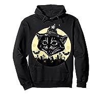 Vintage Scary Halloween Black Cat Witch Hat Moon Pumpkin Bat T Shirt Hoodie Black