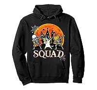 Skeleton Unicorn Pumpkin Dabbing Squad Team Halloween Tshirt Hoodie Black