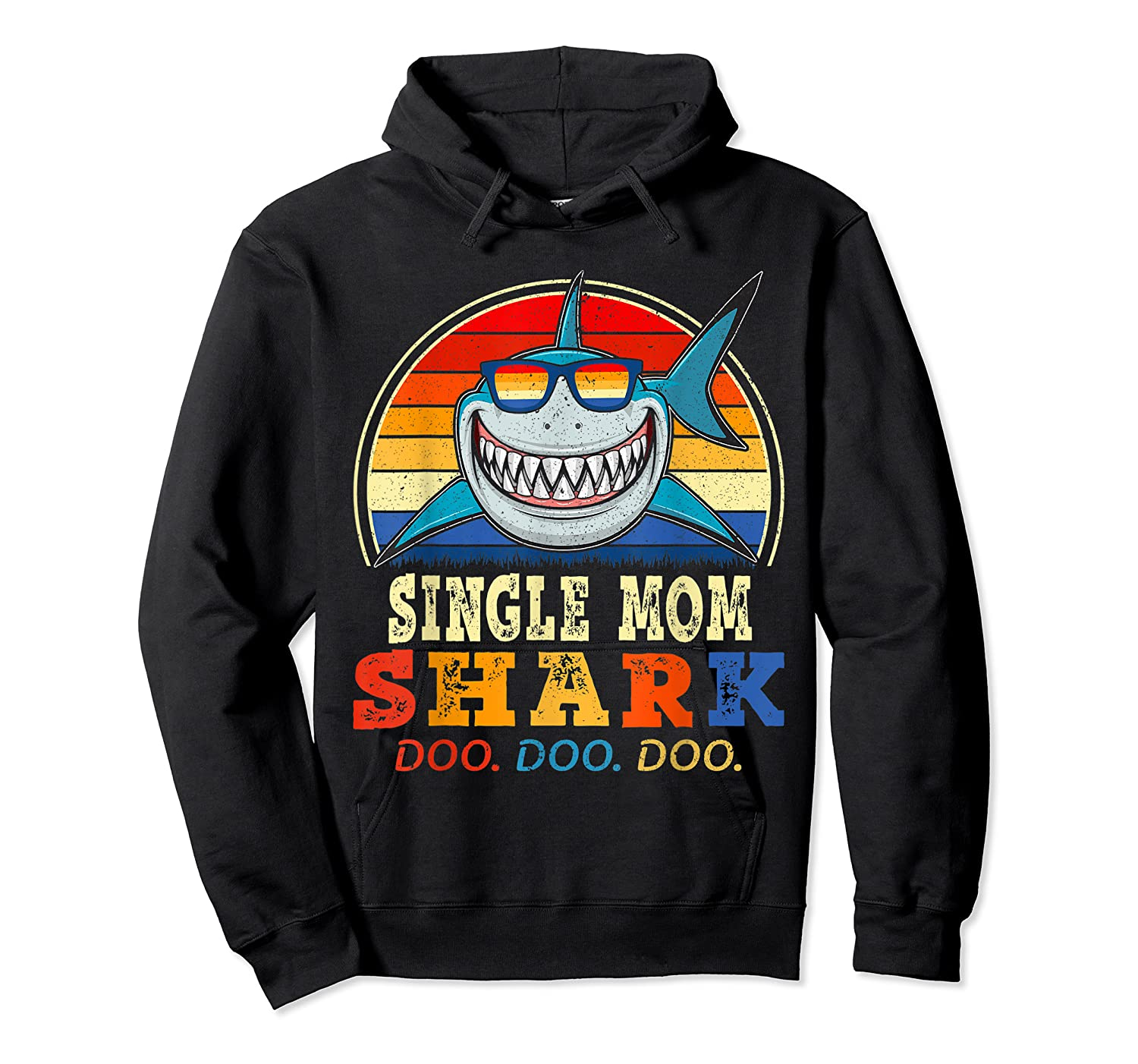 Vintage Single Mom Shark T Shirt Birthday Gifts For Family Unisex Pullover Hoodie