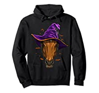 Horse Witch Hat Funny Halloween Gifts Horse Lover Whisperer T Shirt Hoodie Black