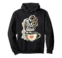 Cute Owl Cartoon Bird Hand Draw T Shirt Design Hoodie Black