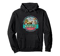 Amarillo Tx Texas Historic Route 66 Longhorn Cowboy Souvenir Premium T-shirt Hoodie Black