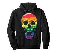 Lgbt Gay Pride T-shirt Skull Rainbow Hoodie Black