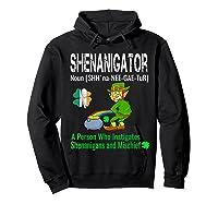 Shenanigator Tshirt Saint Patrick Day Irish Four Leaf Clover Hoodie Black