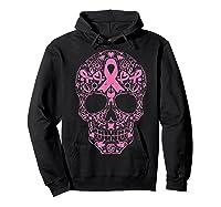 Sugar Skull Pink Ribbon Calavera Breast Cancer Awareness T Shirt Hoodie Black